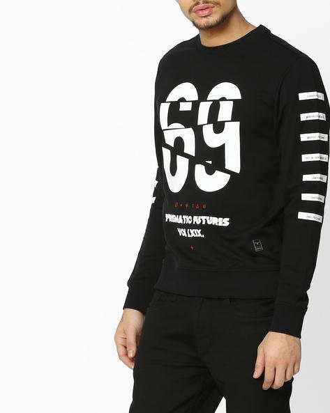 Graphic Print Crew-Neck Sweatshirt By FLYING MACHINE ( Black )