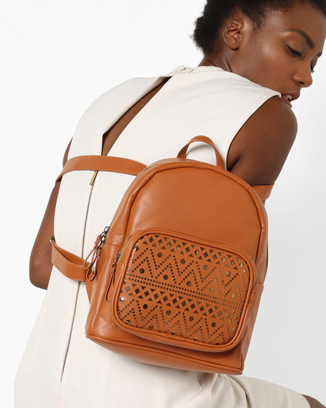 Textured Backpack With Laser-Cut Detailing By Kanvas Katha ( Tan )
