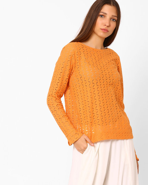 Long-Sleeve Lace Top By Vero Moda ( Rust )