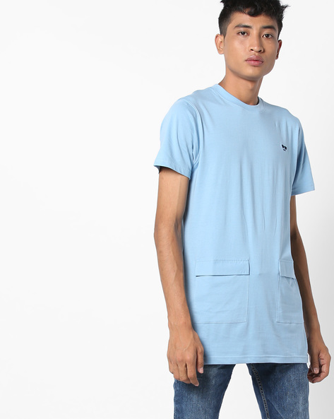 Longline T-shirt With Flap Patch Pockets By Garcon ( Blue )