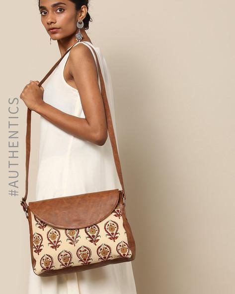 Handblock Ajrak Print Vegan Leather Sling Bag By A BIG INDIAN STORY ( Tan )