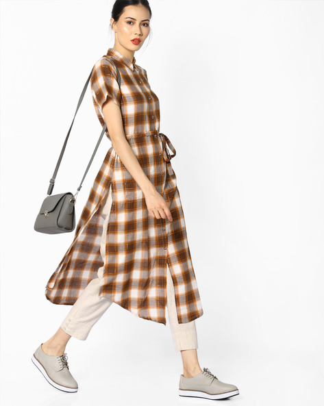 Checked Shirt Kurta With Waist Tie-Up By Juniper ( Brown )
