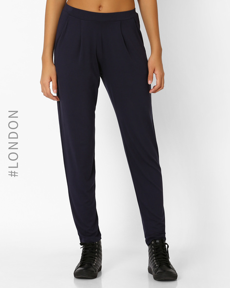 Tapered Fit Pleated Trousers By Marks & Spencer ( Navyblue )