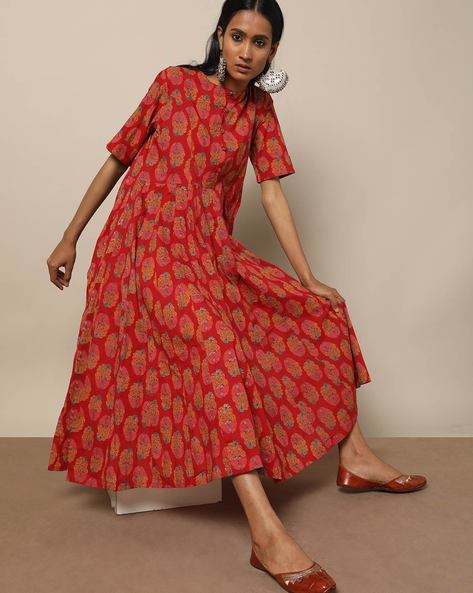 Printed Cotton 16 Panel Long Dress By Seasons ( Red )