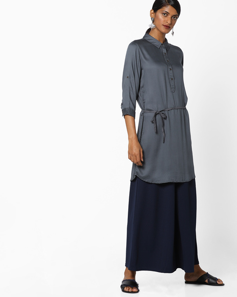 Collared Top With Button Placket By Fame Forever By Lifestyle ( Grey )