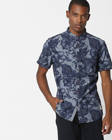 Tropical Print Denim Shirt By UNITED COLORS OF BENETTON ( Blue )
