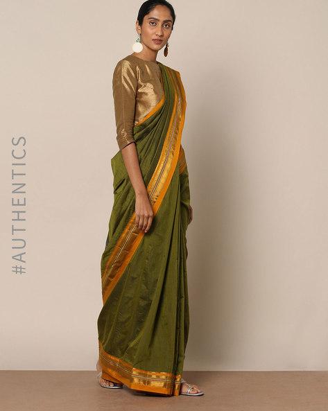 Cotton Silk Ilkal Saree With Zari Border By Indie Picks ( Green ) - 460140505001