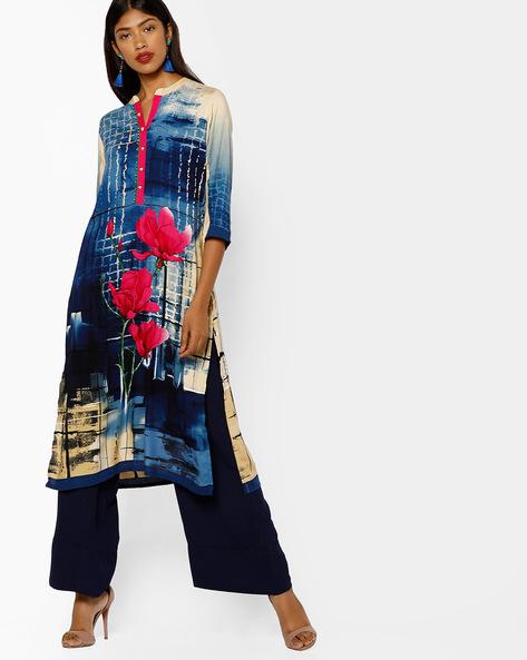 Printed Straight Kurta With Mandarin Collar By Shree ( Blue )