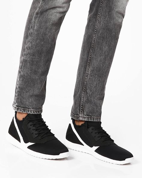 Stretch Casual Shoes With Lace-Ups By Muddman ( Black )