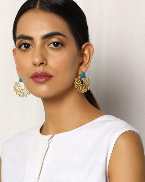 Gold Plated Cutwork Earrings By Indie Picks ( Multi )