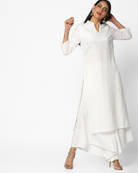 Straight Kurta With Embroidery By AJIO ( Offwhite ) - 460086133002
