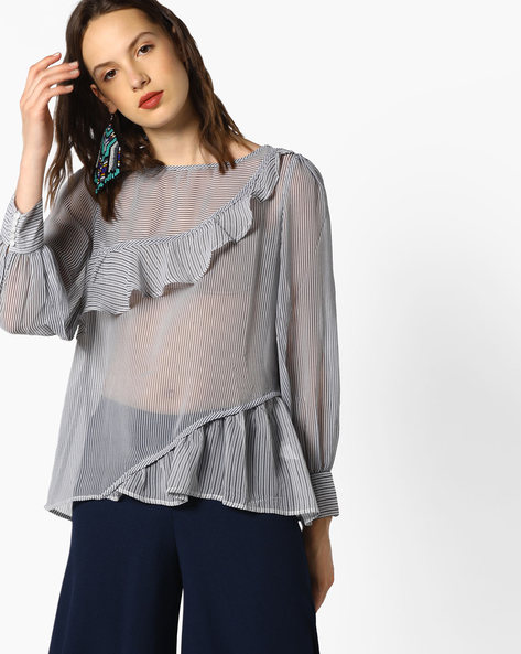 Striped Top With Ruffled Panels By Oxolloxo ( Multi )