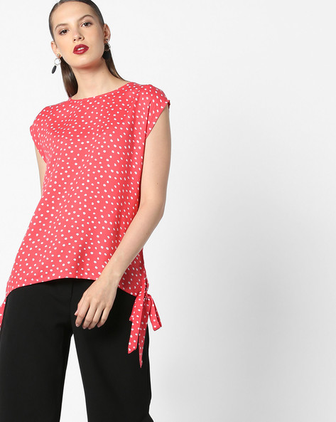 Polka-Dot Print Top With Tie-Ups By AJIO ( Coral )