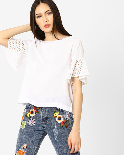 Boxy Top With Schiffli Embroidered Hems By Rena Love ( White )