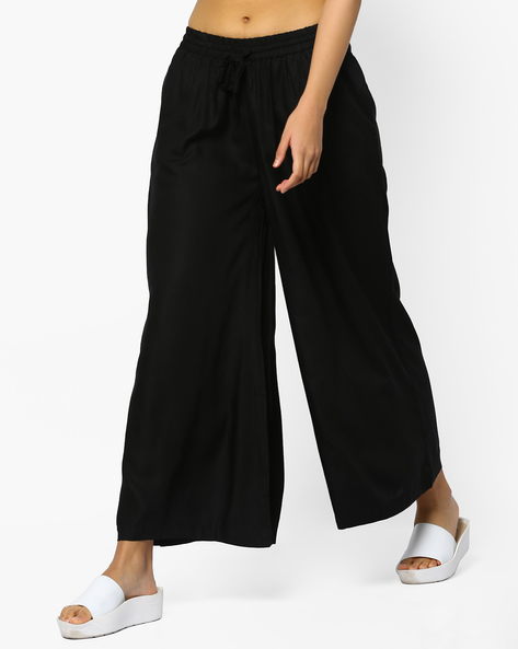 Flared Palazzos With Pocket By Project Eve IW Casual ( Black )