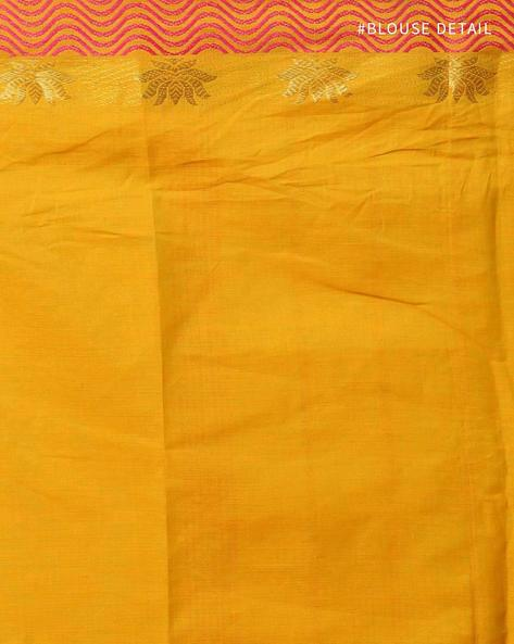 Kanchi Cotton Saree With Woven Border By Indie Picks ( Green ) - 460164745001