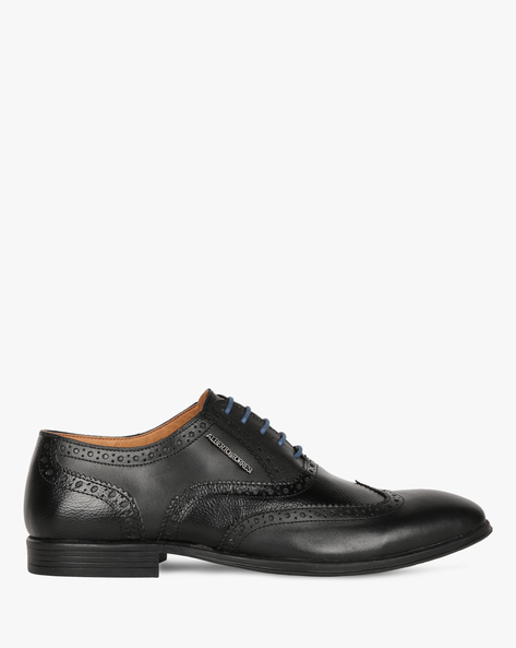 Genuine Leather Formal Shoes With Wingtip Broguing By ALBERTO TORRESI ( Black )