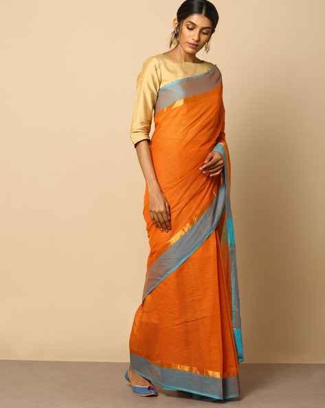 South Cotton Checked Saree With Zari Border By Indie Picks ( Rust )