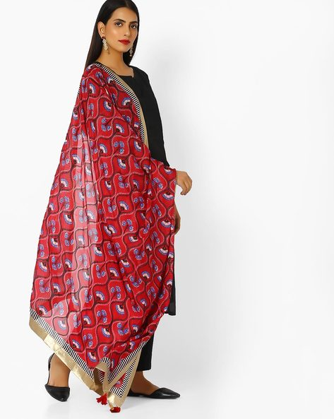 Floral Printed Dupatta With Contrast Taping By W ( Red )