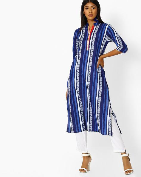 Striped Straight Kurta With Mandarin Collar By Desi Weaves ( Indigo )