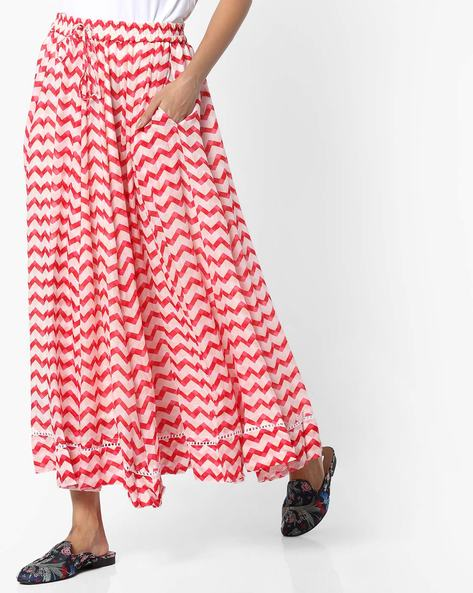 Chevron Print Flared Maxi Skirt By Project Eve IW Casual ( Red )
