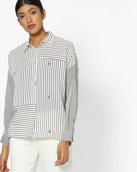 Striped Shirt With Drop Sleeves By RIO ( White )