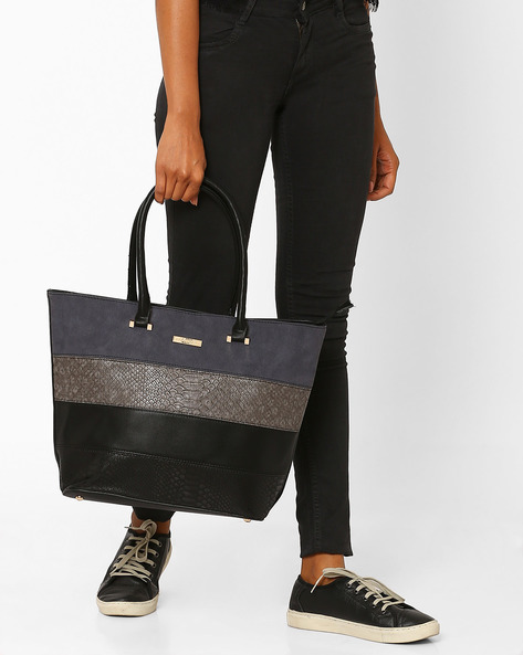 Textured Tote With Patchwork By Addons ( Black )