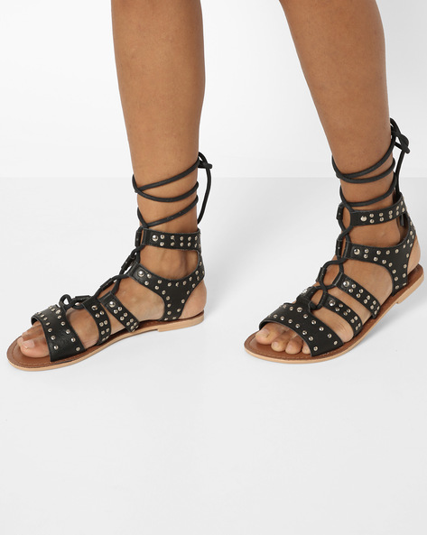 Genuine Leather Gladiator Sandals By THEEA ( Black )