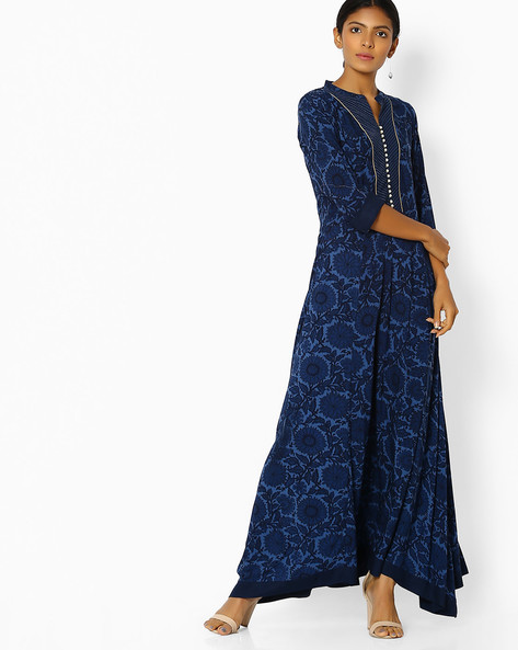 Floral Print A-line Dress With Asymmetric Hem By Shree ( Blue )