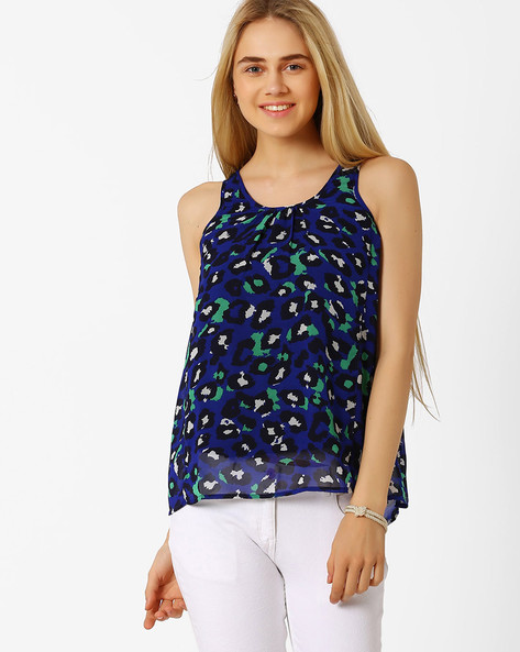 Printed Sleeveless Top By Candies By Pantaloons ( Blue )