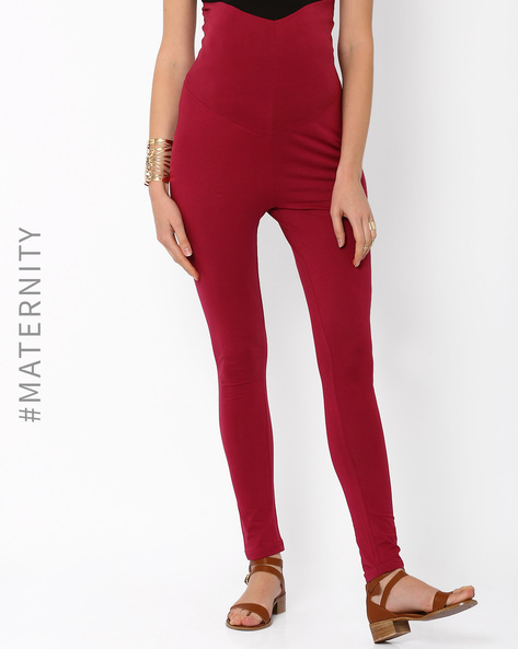 Bumper Leggings By AJIO ( Maroon )