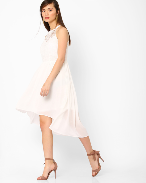 High-Low Dress With Cutaway Shoulders By AJIO ( White )