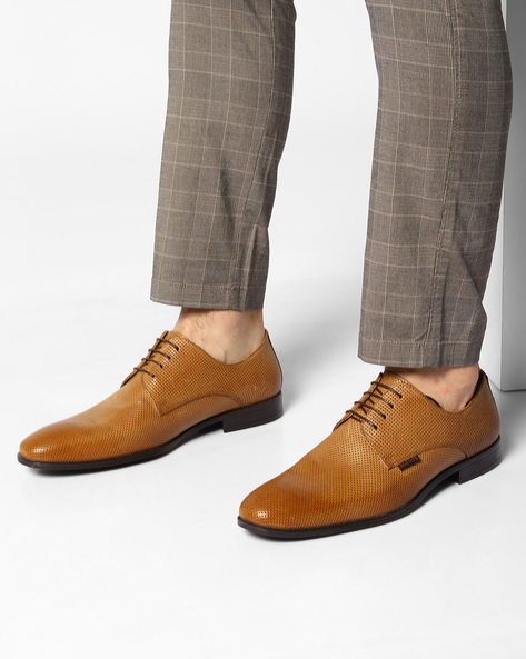 Genuine Leather Perforated Derby Shoes By RED TAPE ( Tan )