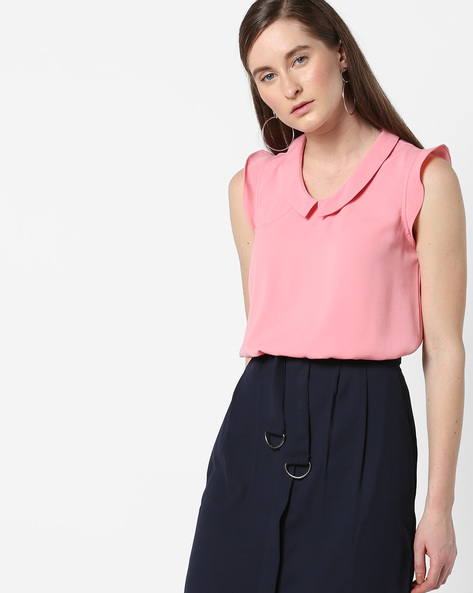 Top With Ruffle Sleeves By AJIO ( Pink )