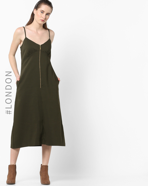 Camisole Midi Dress With Zip Placket By Closet London ( Khaki )