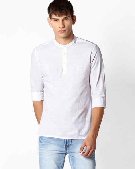 Shirt Kurta With Mandarin Collar By NETPLAY ( White )