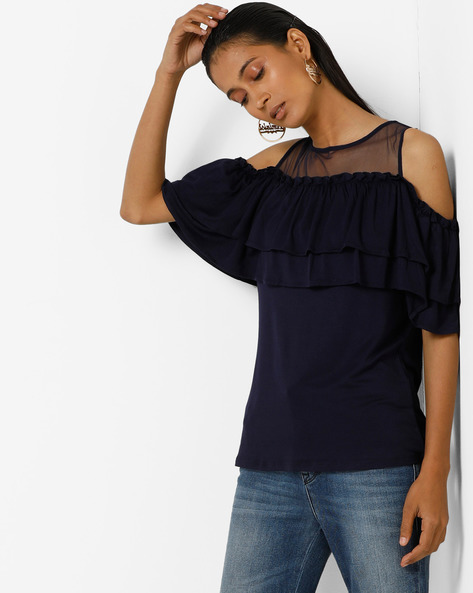 Cold-Shoulder Top With Tiered Ruffles By Femella ( Navyblue )