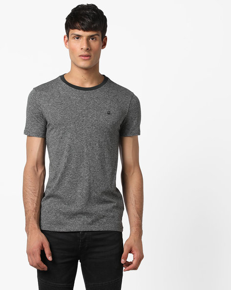 Crew-Neck T-shirt With Grindle Effect By UNITED COLORS OF BENETTON ( Black )