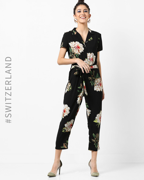 Floral Print Jumpsuit With Waist Tie-Up By TALLY WEiJL ( Black )