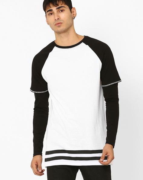 Slim Fit T-shirt With Layered Sleeves By ADAMO LONDON ( White )