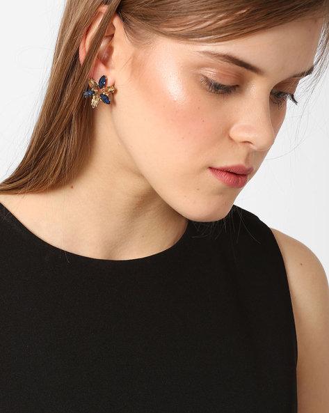 Floral-Shaped Rhinestone Stud Earrings By Ssoul ( Gold )