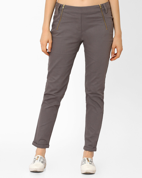 Low-Rise Ankle-Length Trousers By AJIO ( Darkgrey )
