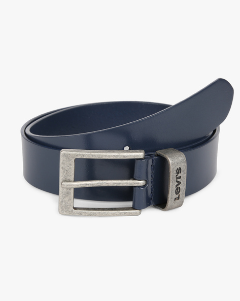Leather Belt With Buckle Closure By LEVIS ( Indigo )