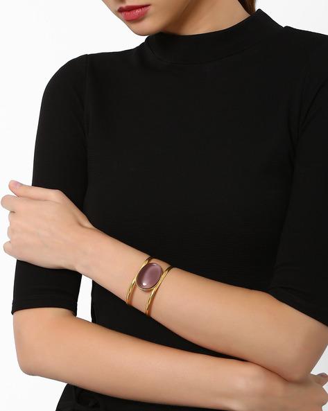 Cuff Bracelet With Amethyst Stone By AJIO ( Purple )