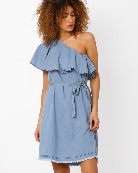 Off-Shoulder Dress With Tie-Up By DNM X ( Mediumblue )