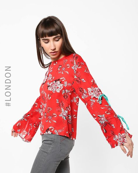 Sheer Floral Top With Tie-Up Sleeves By Glamorous ( Red )