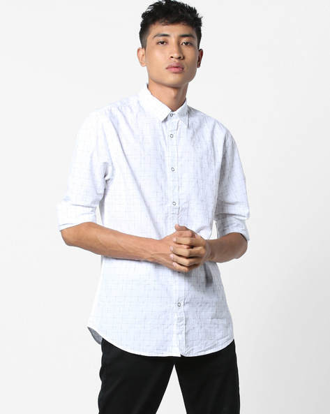 Checked Shirt With Curved Hemline By Jack & Jones ( White )
