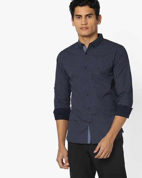 Printed Cotton Slim Fit Shirt By SPYKAR ( Navy )