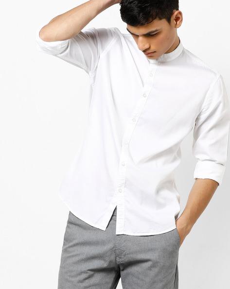 Cotton Shirt With Mandarin Collar By AJIO ( White )