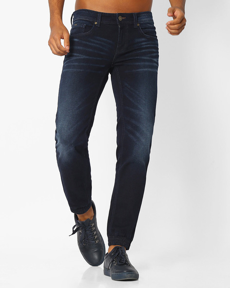 Skinny Fit Jogger Stretch Denims By BASICS ( Navy )